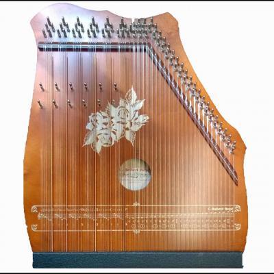 100-6 Cithare 6 accords de 7 notes + 50 cordes doubles : Acajou