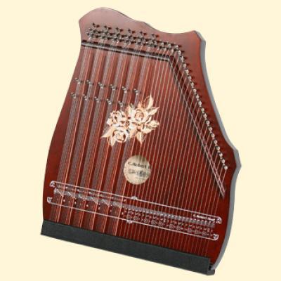 100-5 Cithare 6 accords de 7 notes / mélodie 25 cordes : Acajou
