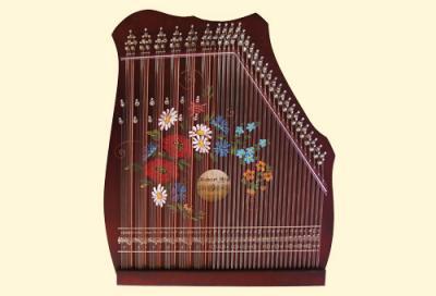 100-6 peinture-fleurs Cithare 6 accords de 7 notes + 50 cordes doubles : Noir