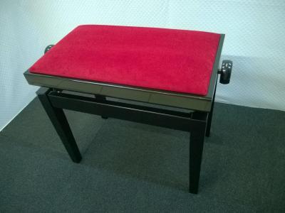 CLASSIC 27-NB-VR banquette piano Noir BRILLANT - VELOURS  rouge