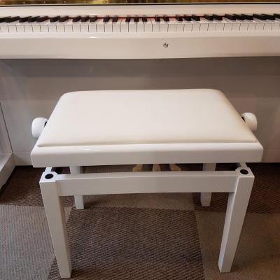 CLASSIQUE 20-BB-SKB banquette réglable pour piano numérique BLANC  BRILLANT- dessus skaï blanc
