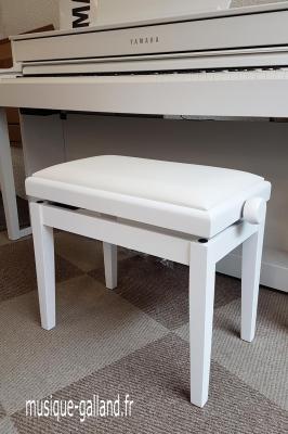 CLASSIQUE 20-BM-SKB banquette réglable pour piano numérique BLANC  MAT - dessus skaï blanc