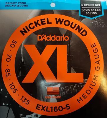 D'ADDARIO EXL160-5 MEDIUM 5 cordes 35-135 cordes basses électriques