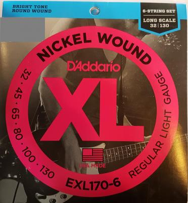D'ADDARIO EXL170-6 REGULAR LIGHT 6 cordes 32-130 cordes basses électriques