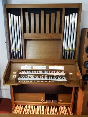 Orgue d'Eglise ECCLESIA T-150 + Façade tuyaux + 5 Baffles UL + Claviers bois