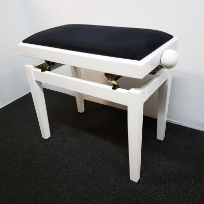 RONDO 460-BB-VN banquette piano BLANC  BRILLANT - VELOURS noir-rouge-blanc