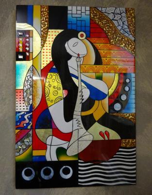 Tableau laqué  abstrait Clarinette 30 x 45 cm