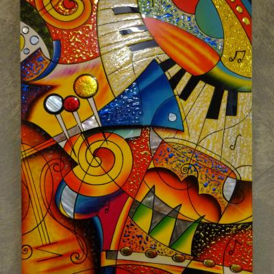 Tableau laqué  abstrait Clavier Piano 30x45cm