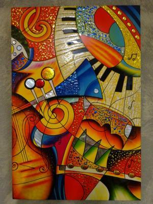 Tableau laqué  abstrait Clavier Piano 30 x 45 cm