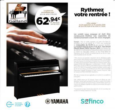 Piano YAMAHA B1PE  en 60 mois au TAEG de 2,9%  (départements 68 et 90)
