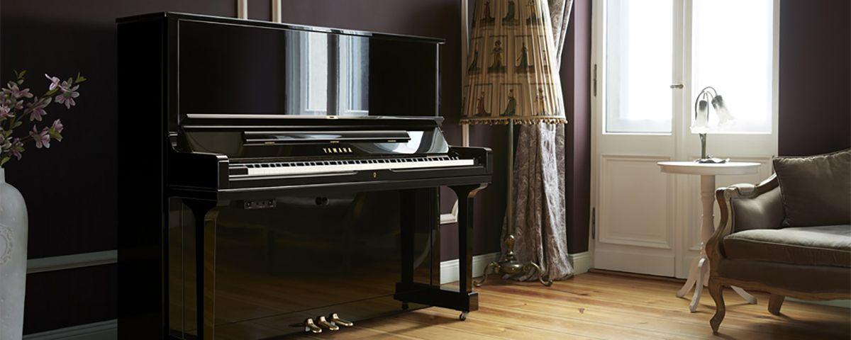 piano droit yamaha mod le yus3pe noir brillant. Black Bedroom Furniture Sets. Home Design Ideas